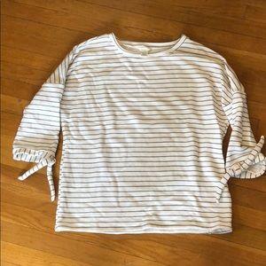 Striped, 3/4 sleeve, terry sweatshirt